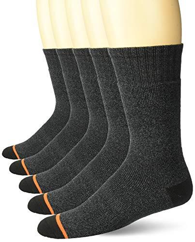Weatherproof Men's 5 Pack Full Terry Thermal Crew Socks, black, 10-13