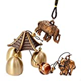 Wind Chimes, Vintage Metal Copper Wind Chime Bells Chinese Feng Shui Lucky Bell Hanging Ornament for Home Garden Decorations (Elephant)