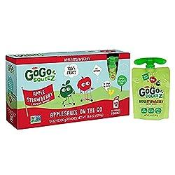 GoGo squeeZ Applesauce on the Go, Apple Strawberry, 3.2 Ounce (12 Pouches), Gluten Free, Vegan Frien