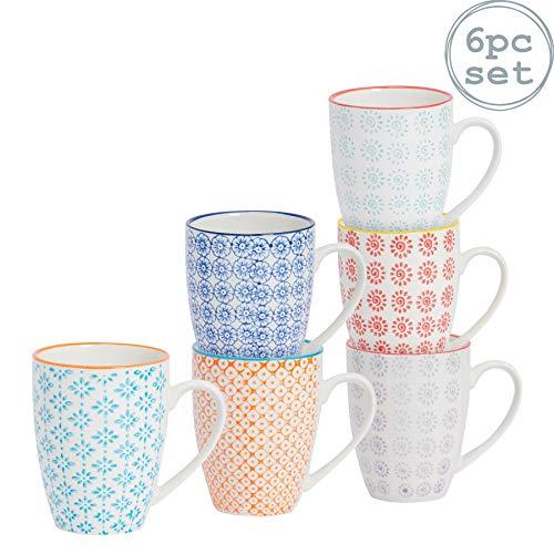 Kaffeebecher/Teetassen - gemustert - 360 ml (12,7 oz.) - 6 verschiedene Designs - 6 Stück
