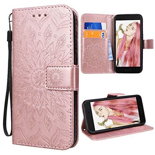 VemMore für HTC U11 Hülle Handyhülle Schutzhülle Leder PU Wallet Flip Case Bumper Lederhülle Ledertasche Blumen Muster Klapphülle Klappbar Magnetisch Dünn Silikon Sonnenblume - Rose Gold