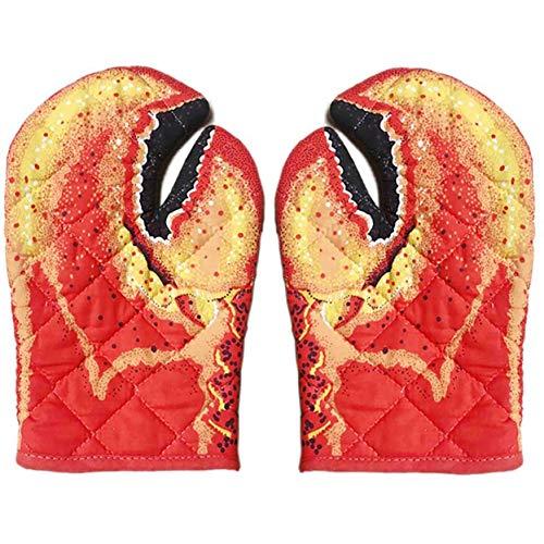 Faviye Ofenhandschuhe Lobster Claw Backhandschuhe Grillhandschuhe Baumwolle Isolierte für Grillen, Backen