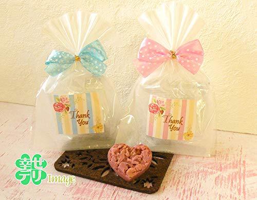 ドットリボンがついたハート型クランチチョコのプチギフト1個【結婚式 プチギフト チョコレート バレンタインデー ホワイトデー】