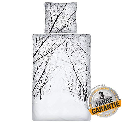 Aminata Kids Biber Bettwäsche Landschaft 155x220 cm + 80x80 cm aus Baumwolle mit Reißverschluss, unser Bettbezug mit Winter-Motiv ist weich und kuschelig