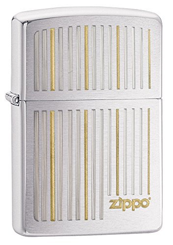 Zippo Vertical Lines Design Pocket Lighter, Brushed Chrome