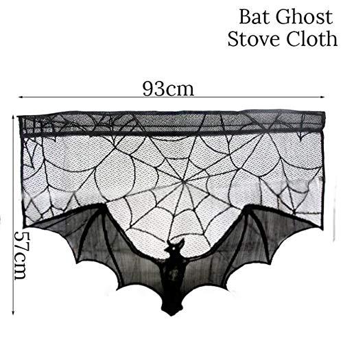 WSJDE 2019 Decoración de Halloween Mantel de Tela de araña de Encaje Negro Fiesta de cumpleaños para niños Cubierta de Mesa de Chimenea Decoración de Halloween para elpatrón demurciélago casero3