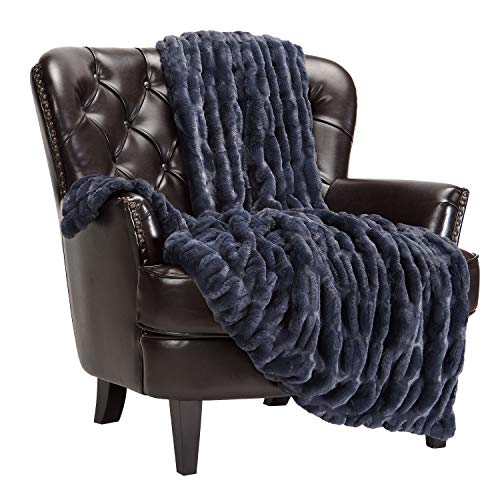 Chanasya Ruched Royal Faux Fur Throw Blanket - Fuzzy Plush Elegant Blanket for Sofa Chair Couch and Bed with Reversible Velvet Blanket (50x65 Inches) Blue Charcoal