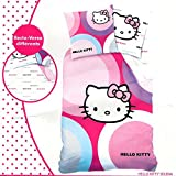 Juego de cama funda de edredón de HELLO KITTY • • 100% algodón, 140 x 200 cm, funda de almohada • Duvet Cover • Bettbezug
