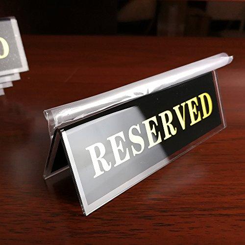 """Earlywish """"Reserved"""" Acryl-Tischschild/Sitzschild, doppelseitig, 11,4 x 3,8 cm 10 Stück Schwarz"""