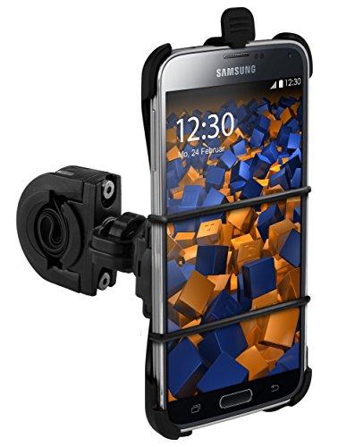 mumbi TwoSave Fahrradhalter für Samsung Galaxy S5 / S5 Neo Motorrad und Fahrrad Halterung doppelt gesichert/Hoch + Querformat + Sicherheitsband