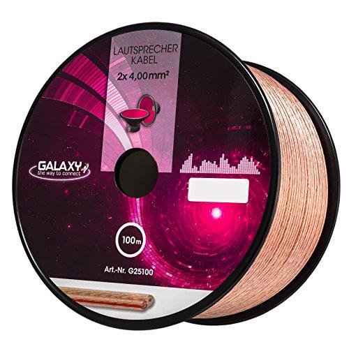 HB-Digital Lautsprecherkabel 2 x 4mm² x 100m CCA-Innenleiter Galaxy PVC- Dielektrikum (transparent) Speaker Cable