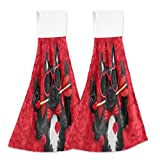 Funny French Bulldog Kitchen Hand Towel Home Decorative Valentines Red Roses Hanging Towels 2PCS Super Soft Absorbent Hang Cloth Tie Towels 12x17Inches for Bathroom,Mudroom,Laundry Room,Farmhous Hous
