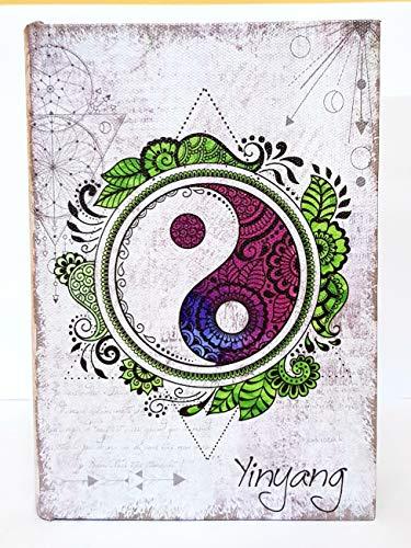 MR Caja de Madera en Forma de Libro Yin Y Yang, 18X12 cm