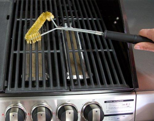 Brosse de grill - 53,3 cm, fil de poils en laiton, brosse robuste adaptée pour le nettoyage du gaz, du barbecue, du gaz Ducane et Nexgrill, des barbecues électriques et au charbon. Contrairement à l'acier inoxydable, ne rayera pas les grilles et grilles de barbecue revêtus de porcelaine - Meilleure garantie