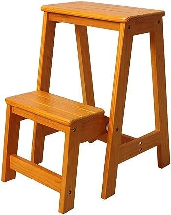 Wtbew-u Step Ladders  Folding Ladder Stool Made Wood Steps Shelving Stairway Chair Climbing