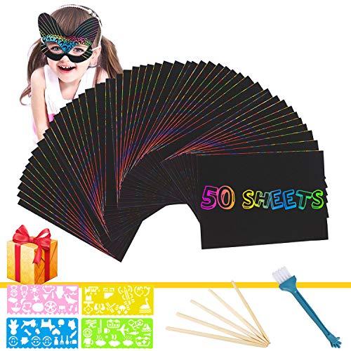 Kratzbilder Set süße Fee Kratzpapier Regenbogen Kindergeburtstag Basteln Malen