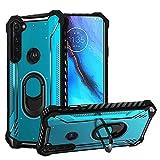 HR Wireless for Motorola Moto G Stylus Jacket Design Ring Magnetic Kickstand Case Cover - Blue