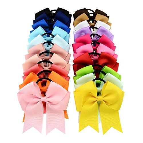 Coletero elástico con lazo de cinta de grogrén de 11,43 cm, 20 unidades por lote, para niñas y mujeres
