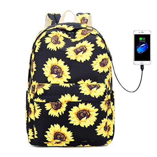 Lmeison Sunflower Backpack Waterproof, Floral College Bookbag with USB Charging Port for Women Girls, Lightweight Travel Daypack 15' Laptop Backpack for School