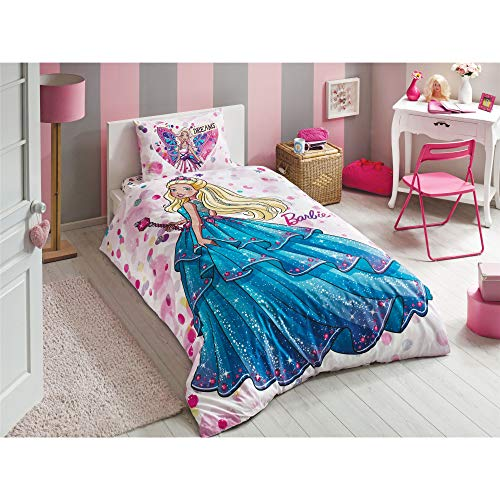 Original Licensed Barbie Dream Single/Twin Size 3 Pcs Bedding Set, 100 % Cotton Duvet/Quilt Cover Set with Duvet Cover , Fitted Sheet and Pillowcase