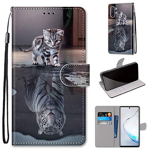 Miagon Flip PU Leder Schutzhülle für Samsung Galaxy Note 10,Bunt Muster Hülle Brieftasche Case Cover Ständer mit Kartenfächer Trageschlaufe,Katze Tiger