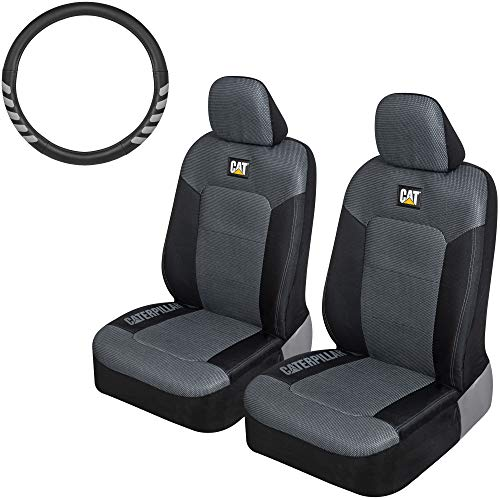 Caterpillar MeshFlex Truck Seat Covers, Front Seat Set with Steering Wheel Cover - Universal Fit Automotive Seat Covers for Cars Trucks and SUVs, Durable Steering Cover Fits Wheels 15.5-16 inches