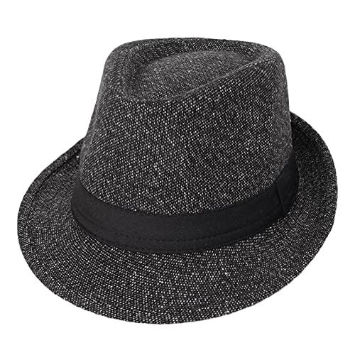 Donggu Sombrero de Panama Fedora Trilby Sombrero de Gangster Otoño Invierno Cálido, Dark grey,