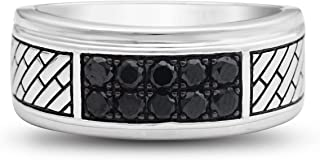 Jewelili الفضة الاسترليني الأسود الروديوم مطلي 1/2 Cttw المعالج الأسود جولة الماس الرجال الدائري