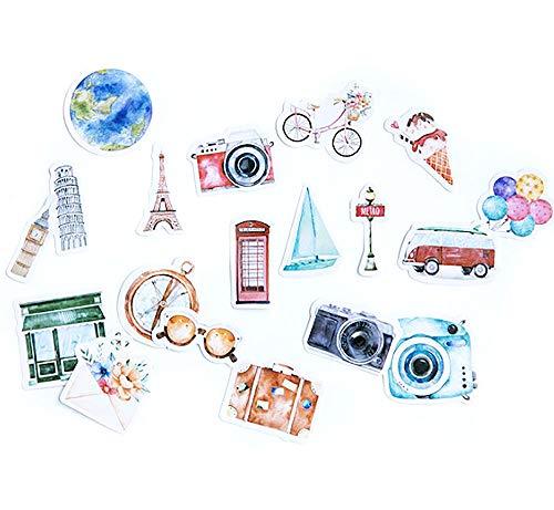 moin moin シール フレークシール | カメラ 自転車 アイスクリーム 紙幣 バス かばん | 一人旅 92枚セット 2007sl27