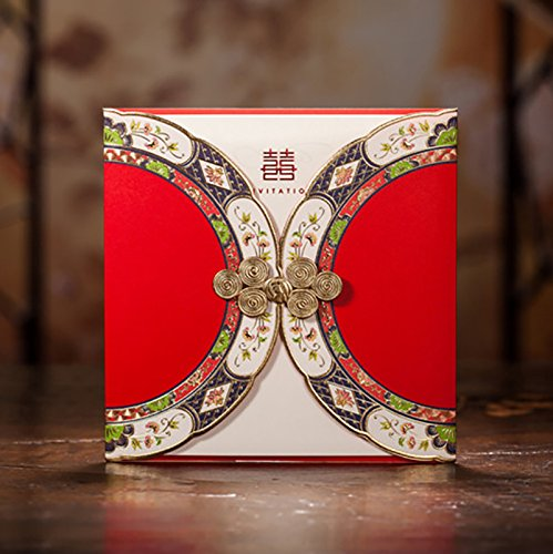Red Double Happiness Chinese Wedding Invitation Card with Buckle Oriental Style Dinner Party Greeting Cards CW3082 (10)