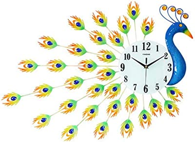 Wall Clock Peacock Decorative Silent Quartz Wall Clock (Color : Colored Peacock)