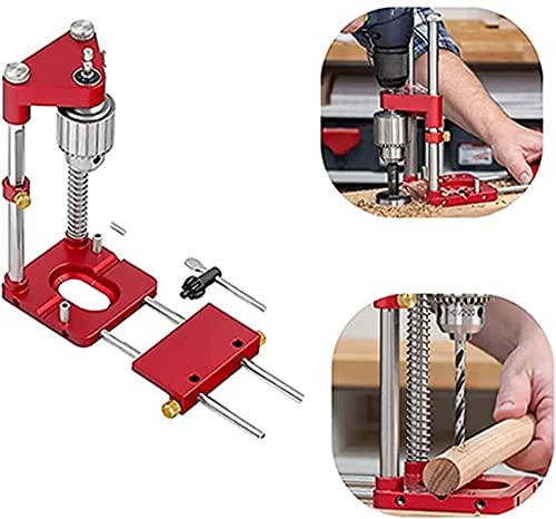 El mejor localizador de perforación de carpintería en 2021, localizador de perforación portátil, localizador de precisión Woodpeckers, guía de perforación ajustable para herramientas (rojo)