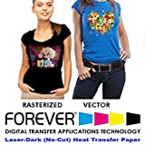 Forever Laser Dark No-Cut A+B Paper 8.5' x 11'- Heat Transfer Paper for Laser Printers with White Toner (100)