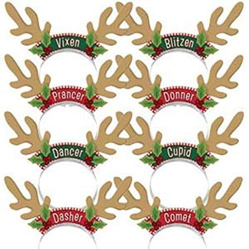 amscan 318720 Santas Reindeer Headbands, 8ct