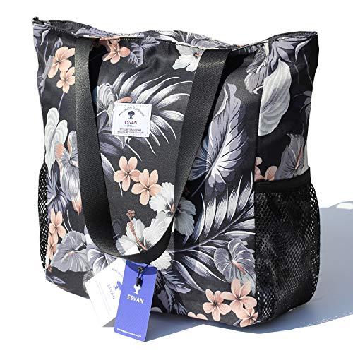 Original Floral Water Resistant Large Tote Bag Shoulder Bag for Gym Beach Travel Daily Bags Upgraded ([G] Floral Leaf)