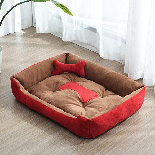 Hundekissen Hundematratze für kleine mittlere große Hunde, orthopädisches Hundebett kuschelig Schlafplatz -Roter Kaffee_D-80 * 60CM