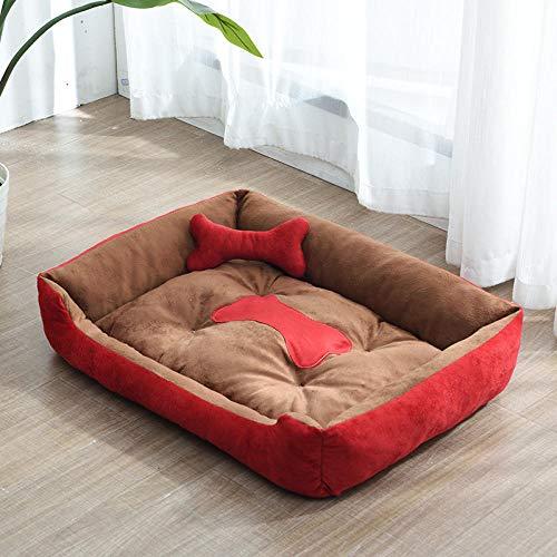 Cama para Perros de Felpa Suave y cálida Cama para Perros Cama para Dormir mullida sofá para Mascotas Perros pequeños y medianos de Varios tamaños -Perrera Color café Rojo + Hueso_S-45 * 30 CM