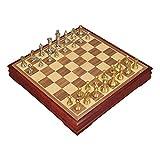 ZLQBHJ Schachspiel, Brettspiele Schach Schach Set Combo, Holzschachspiel, traditionelle Spiele Schach kreativer Schach, metallische Zinklegierung Schachfigur stecken Checkers Schach