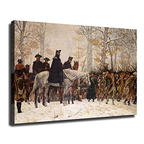 FINDEMO Large George Washington at Valley Forge Revolutionary War Posters Painting Canvas Decor Decor for Living Room Prints Bedroom Large Wall Art Picture -653 (Framed,24x36(inch))