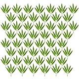 EXCEART 100 Piezas Hojas de Bambú Verde Artificial Ramas de Bambú Falsas Plantas de Plástico Hojas para Bricolaje Hawaianas Luau Fiesta Jungla Playa Cumpleaños Barbacoa Fiesta Decoración