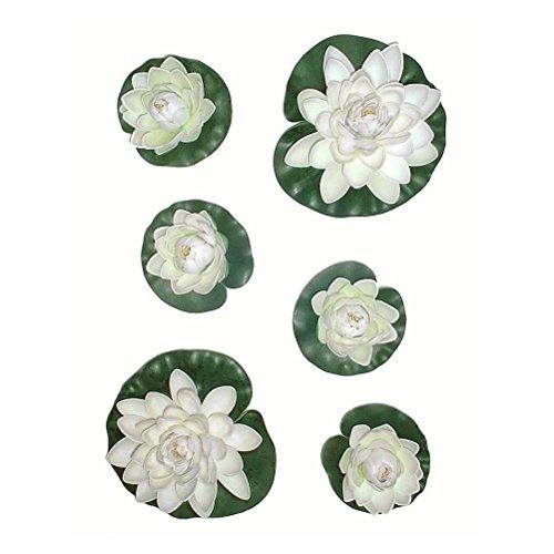 PIXNOR Künstlicher Teich Pflanzen Lotus Lilien - 6pcs (weiß + grün)