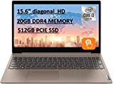 2020 Powerful Lenovo IdeaPad 15.6' HD Touch Screen Laptop, 10th Gen Intel Core i3-1005G1 up to 3.40GHz, 20GB RAM, 512GB PCIe SSD, Dolby Audio, Webcam, Windows 10S, Almond, with E.S 32GB USB Card