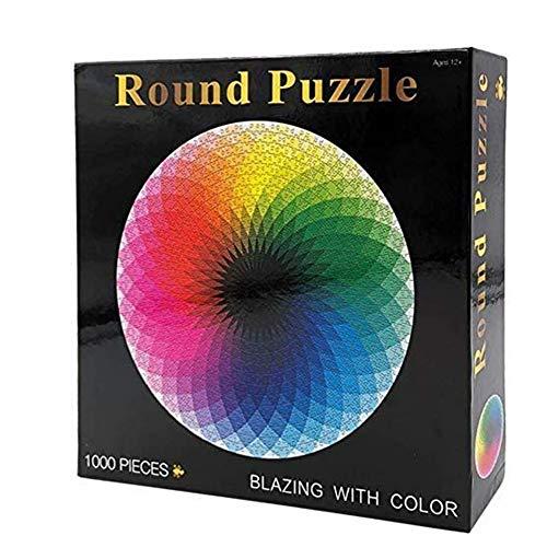 Gradient Puzzel, Ronde Legpuzzels Kleurrijk Raadsel Van De Regenboog Educatief Spel Stress Reliever Voor Volwassenenonderwijs Kids,Black