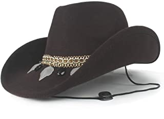 AU-KANGSHUAI Women Roll Up Brim Fascinator Fedora Sombrero Cap Wool Hollow Western Cowboy Hat For Elegant Lady