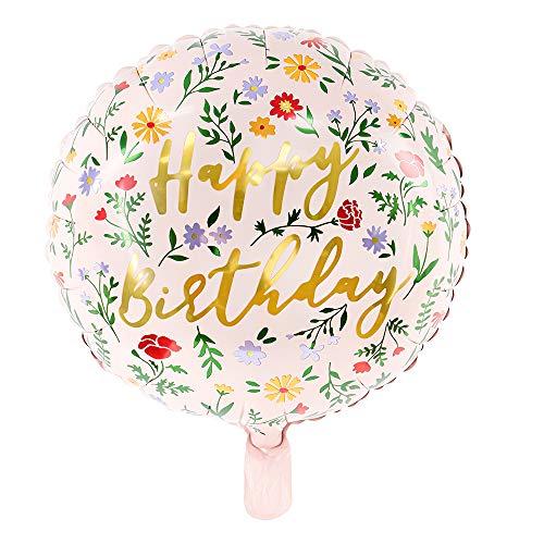 Folienballon in Hellrosa mit Blumen und Aufschrift Happy Birthday 35cm Partyzubehör