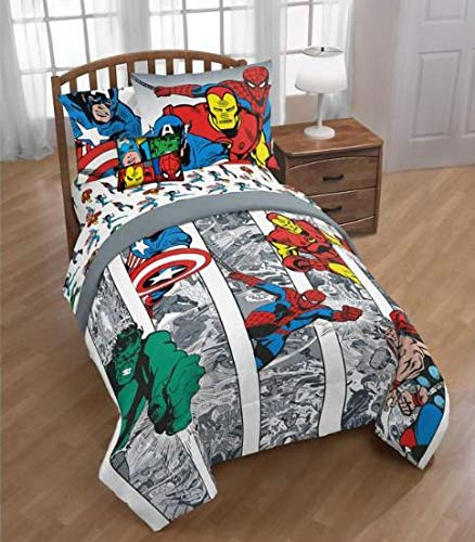 Marvel Comics Avengers Boys Full Comforter, Sheets, Bonus Sham & Bonus Toss Pillow (7 Piece Bed in A Bag) + Homemade Wax Melts
