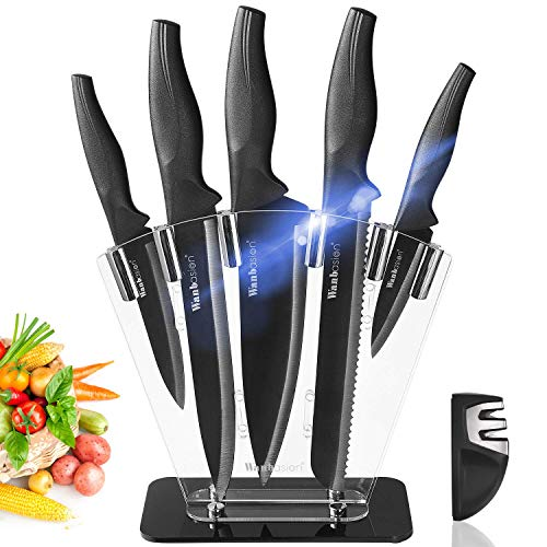 Wanbasion 7 Pieces Black Kitchen Knife Set Dishwasher Safe, Professional Chef Kitchen Knife Set, Kitchen Knife Set Stainless Steel with Knife Sharpener Acrylic Block