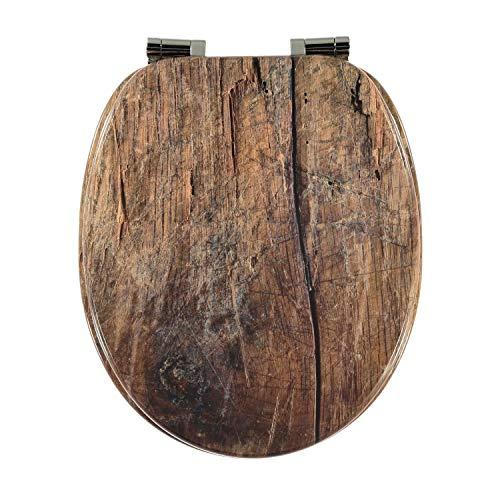 Toilettensitz WC Sitz Klobrille Klodeckel Toilettendeckel mit Absenkautomatik und verzinkten Scharnieren - Holz Design Deckel -Holz-Optik (Holz)