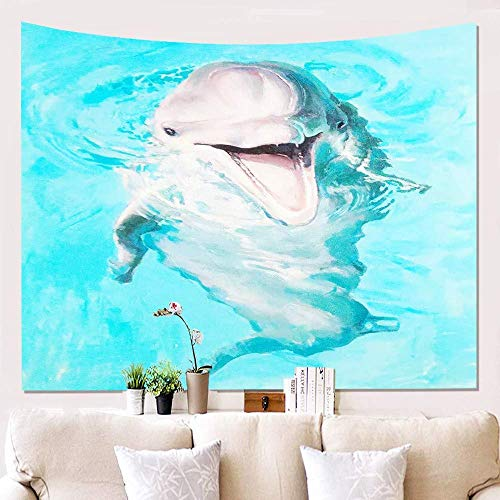 Tapestry Wall Hangings,Animal Smiling White Dolphin Psychedelic Bohemian Gothic Hanging Cloth Hippie 3D Digital Printed Art Tapestry For Living Room Home Decor Cushion 240(H)X260(W)Cm