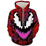 MIANslippers Hombres Venom Sudadera Avengers Sudadera Cumpleaños Cumpleaños Sujetajes Superhéroes Fans Traje Carnaval 3D Cosplay Jacket Sudadera,Venom-M